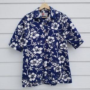 Hilo Hattie   Mens Blue Floral Hawaiian Shirt
